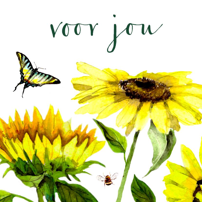 Bloemenkaarten - Bloemenkaart Vrolijke zonnebloemen