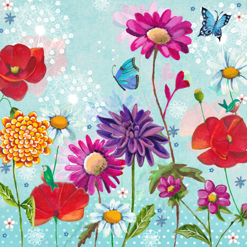 Bloemenkaarten - Bloemkaart wilde bloemen voor jou.