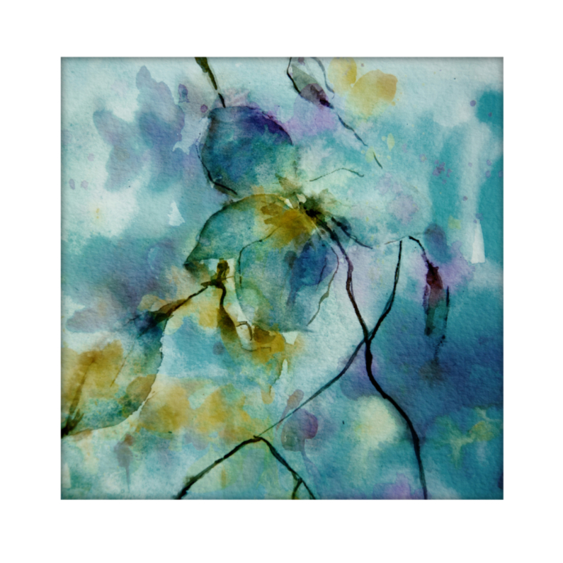 Bloemenkaarten - blue in aquarel