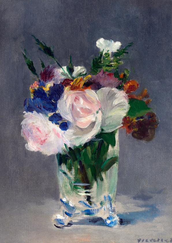 Bloemenkaarten - Claude Monet. Bloemen in een kristallen vaas