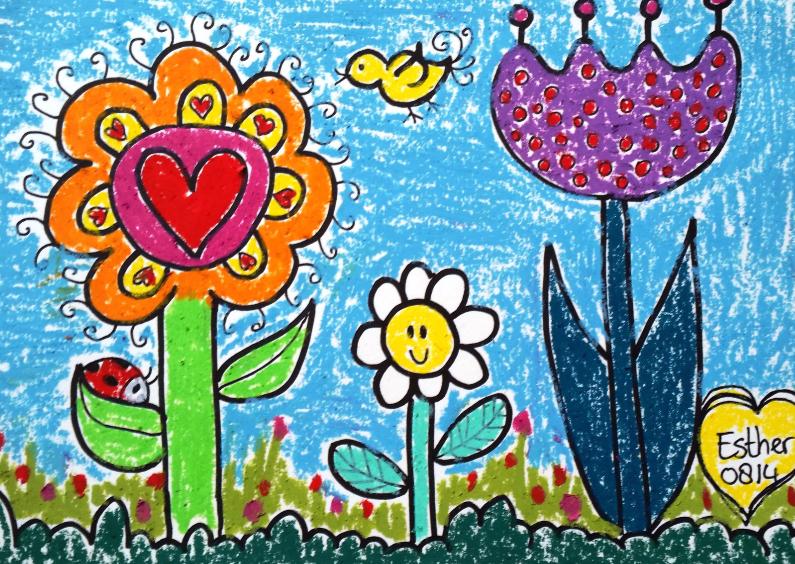 Bloemenkaarten - Een vrolijk kleurrijk bloemetje