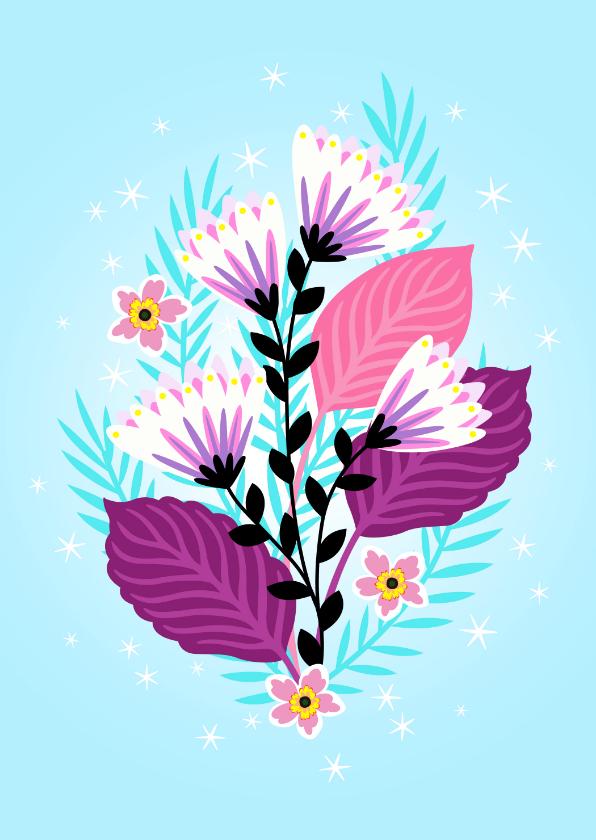 Bloemenkaarten - Elegante verjaardagskaart met bloemen en sterretjes