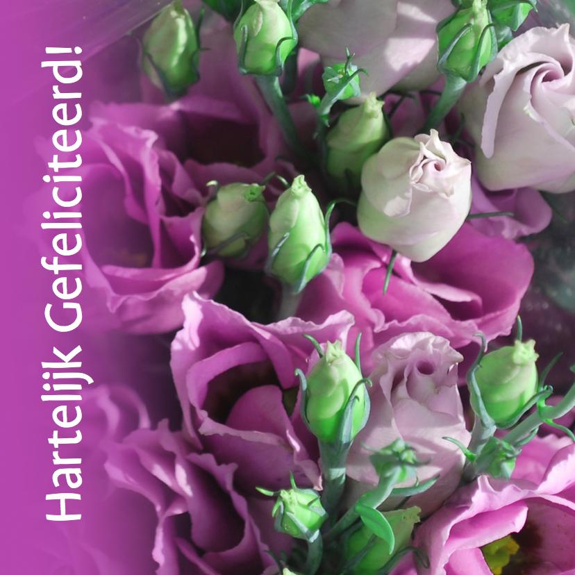 Bloemenkaarten - Fotokaart roze paars wit groen
