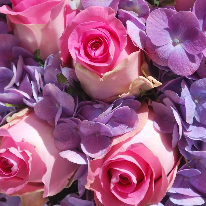 Bloemenkaarten - Fotokaart roze rozen
