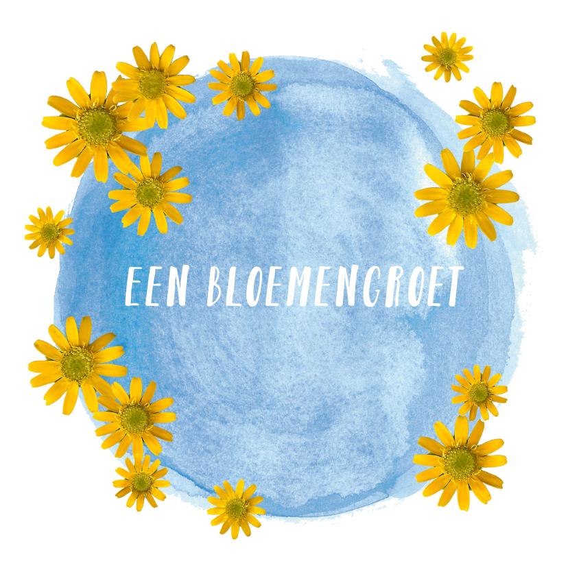 Bloemenkaarten - Gele/blauwe bloemetjes