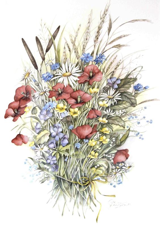 Bloemenkaarten - klaprozen op ansicht
