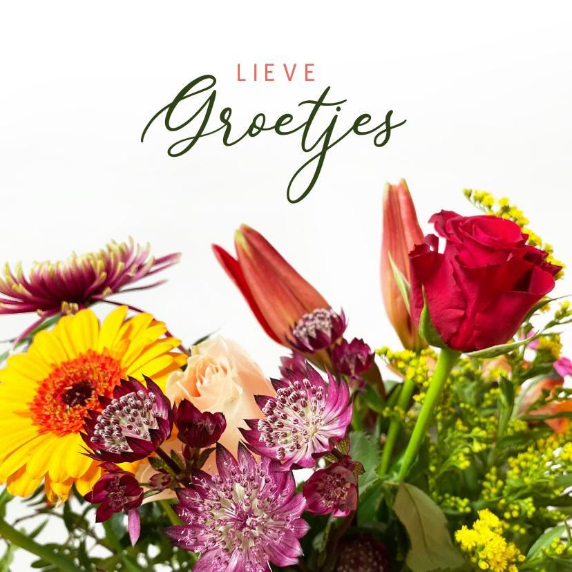 Bloemenkaarten - Klassieke bloemenkaart met een foto van een boeket