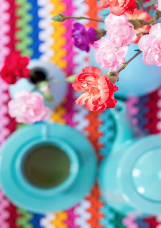 Bloemenkaarten - Kleurig stilleven met anjers