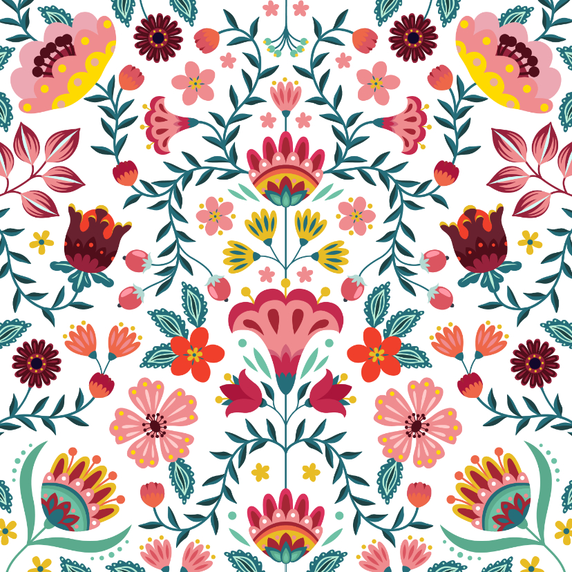 Bloemenkaarten - Kleurrijke verjaardagskaart met bloemen