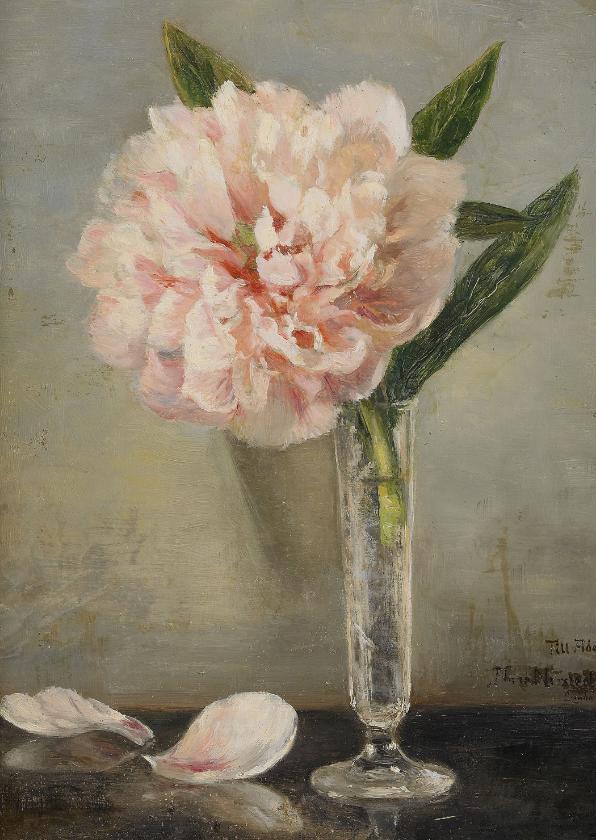 Bloemenkaarten - Kunstkaart van Anna Munthe-Norstedt. Stilleven met pioenroos