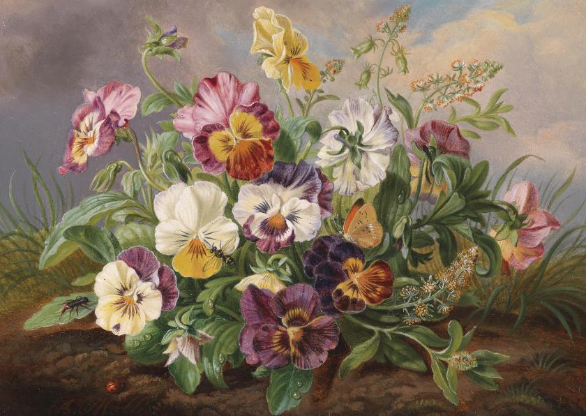Bloemenkaarten - Kunstkaart van Anton Mollis. Viooltjes