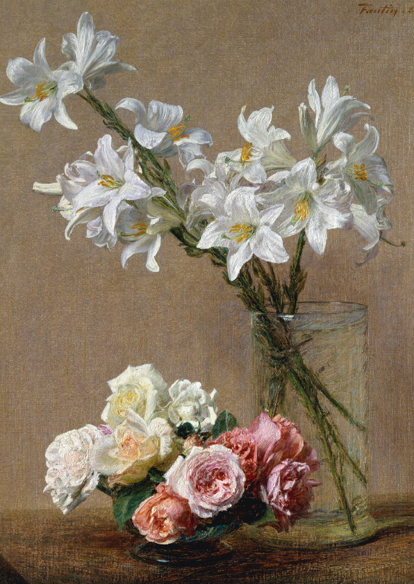 Bloemenkaarten - Kunstkaart van Henri Fantin Latour. Rozen en lelies