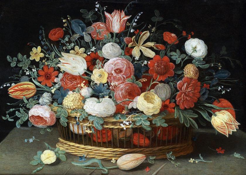 Bloemenkaarten - Kunstkaart van Jan van Kessel. Rozen, tulpen, irissen