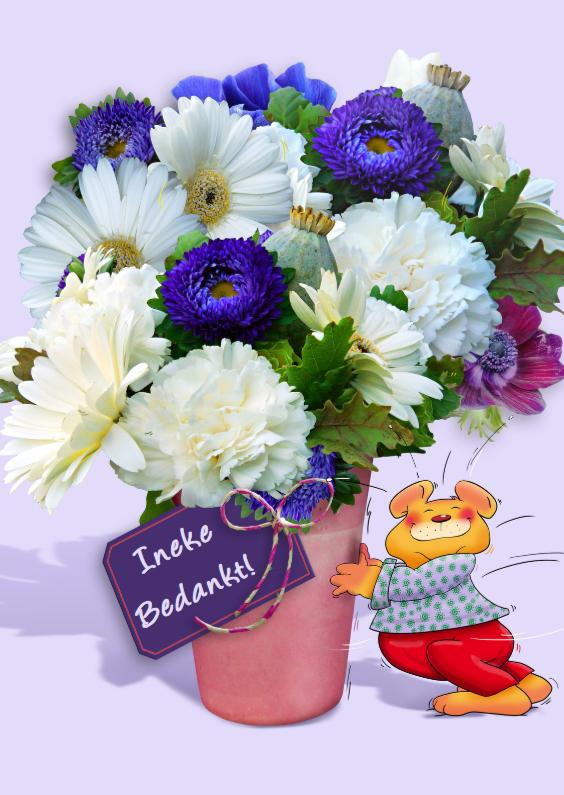 Bloemenkaarten - Leuke bloemenkaart vaas bloemen met beer bedankt