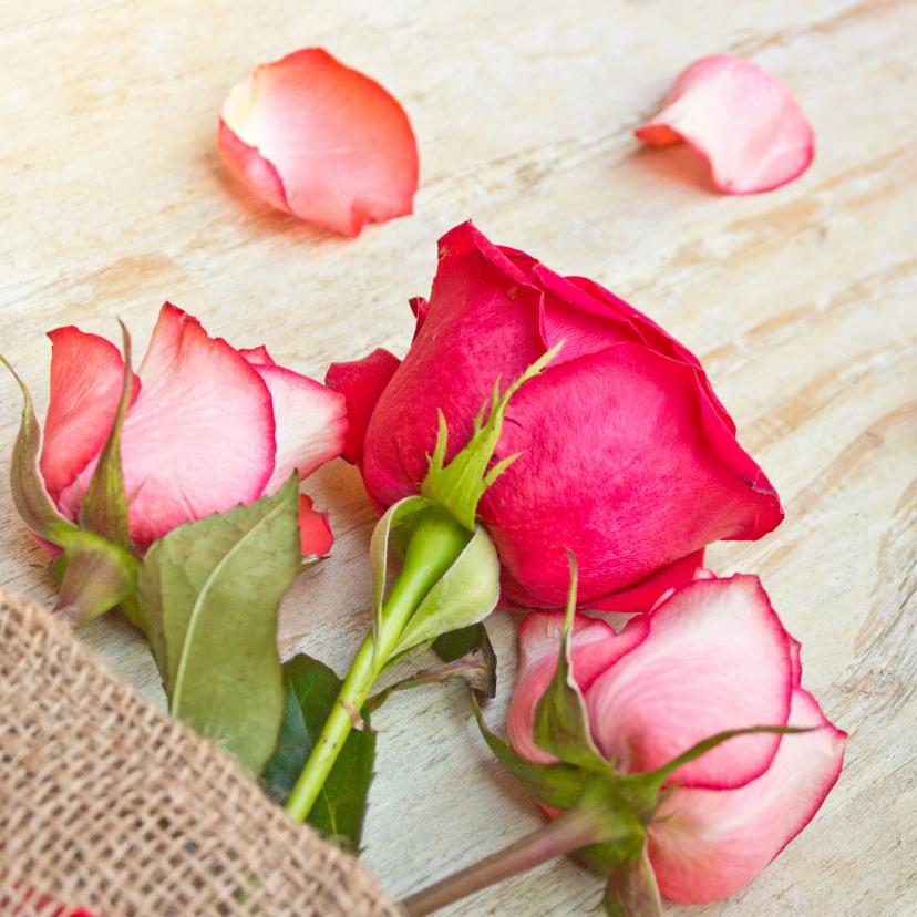 Bloemenkaarten - Moederdag kaart met drie delicate roze rozen