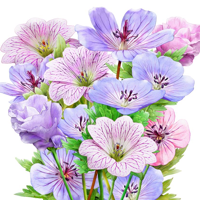 Bloemenkaarten - Mooie bloemenkaart blauwe en roze bloemen met Bolderik