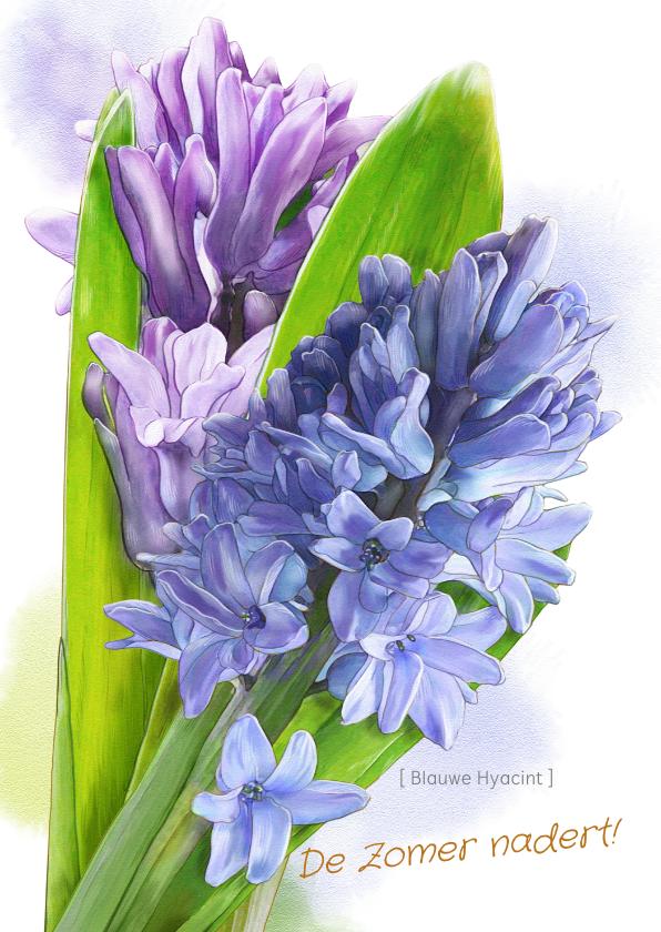 Bloemenkaarten - Mooie bloemenkaart Hyacinten in waterverf