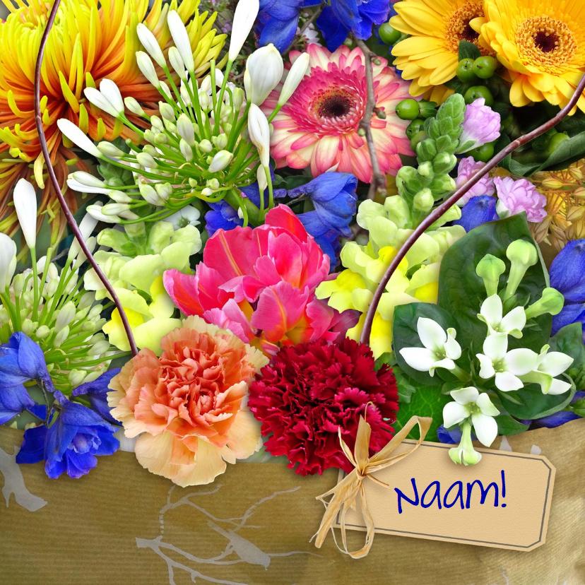 Bloemenkaarten - Mooie bloemenkaart kleurig boeket met kaartje