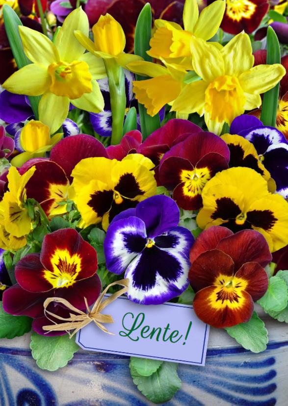 Bloemenkaarten - Mooie bloemenkaart lentebloemen in het voorjaar