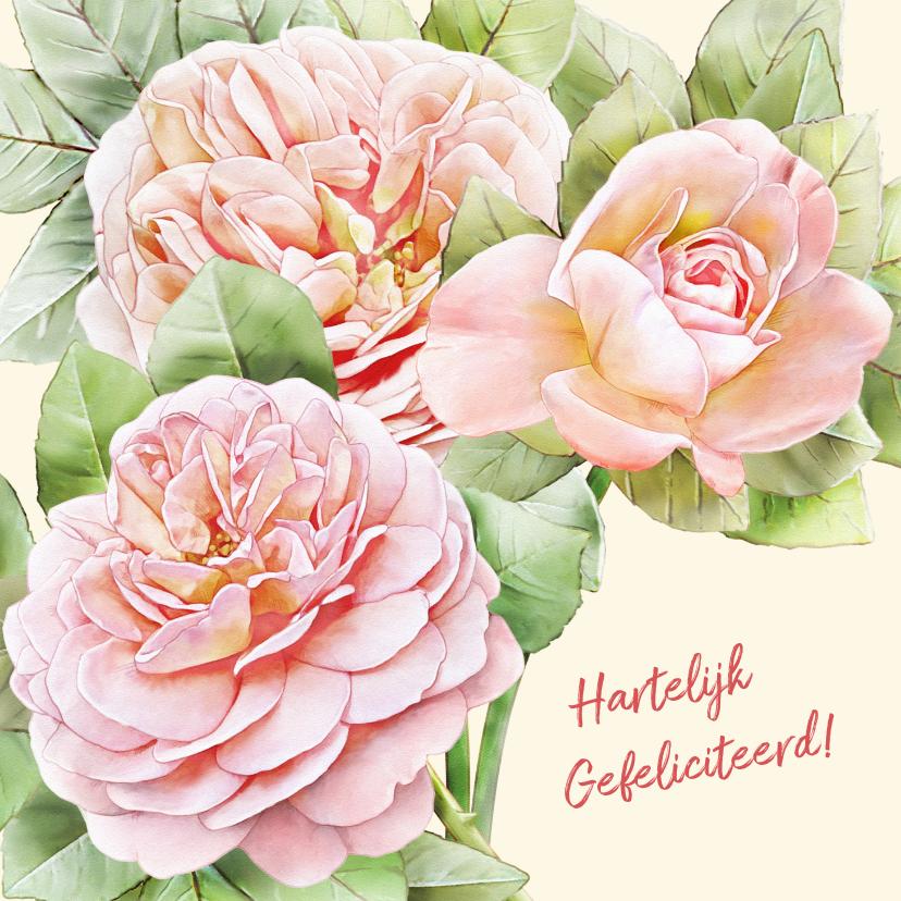 Bloemenkaarten - Mooie bloemenkaart met 3 perzik-kleurige rozen