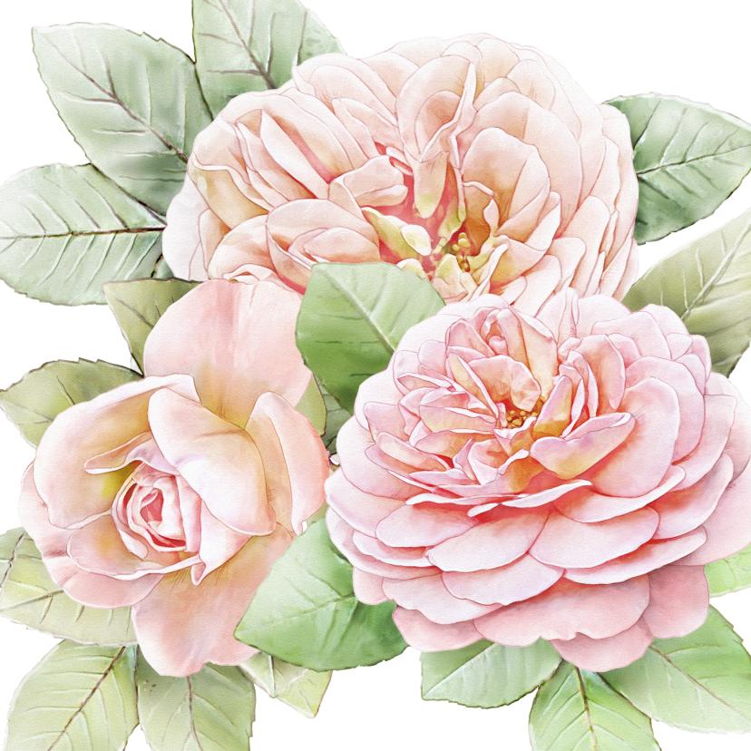 Bloemenkaarten - Mooie bloemenkaart met 3 roze rozen