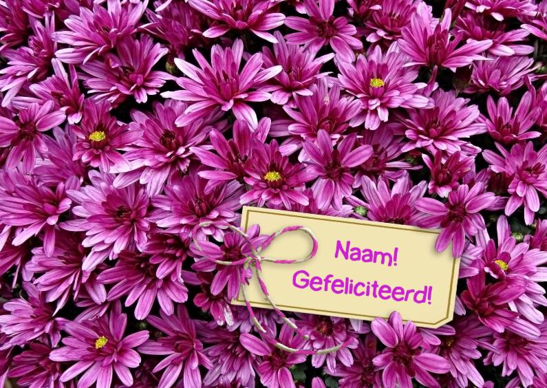 Bloemenkaarten - Mooie bloemenkaart met Chrysanten en kaartje voor tekst