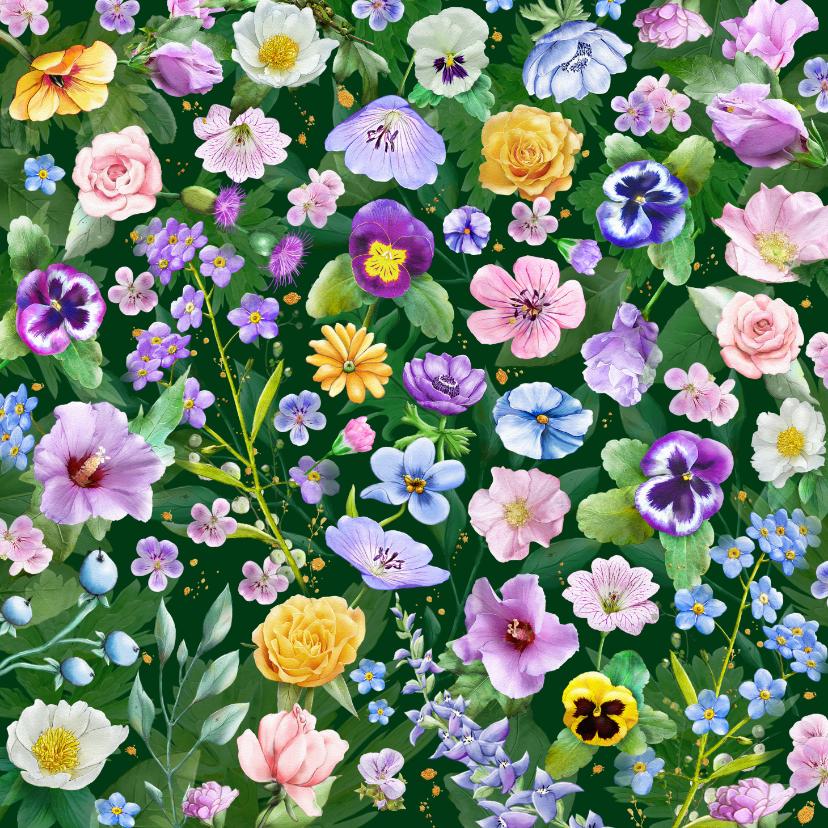 Bloemenkaarten - Mooie bloemenkaart met diverse bloemen zoals rozen