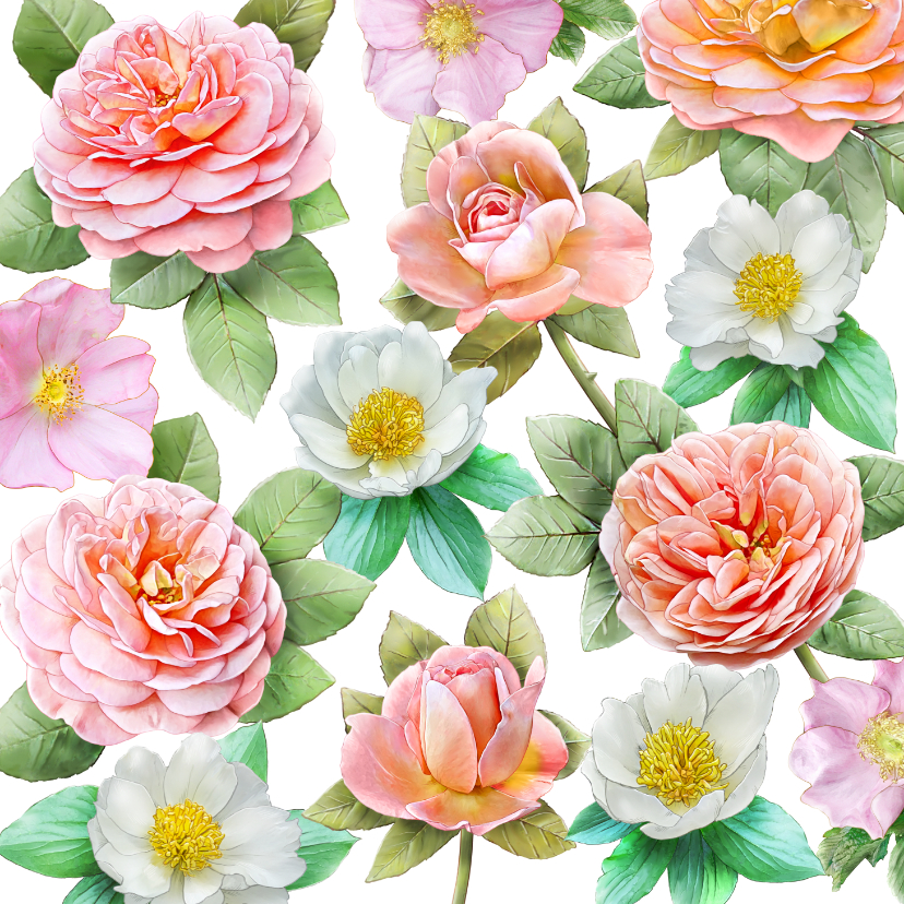 Bloemenkaarten - Mooie bloemenkaart met diverse rozen om de groeten te doen