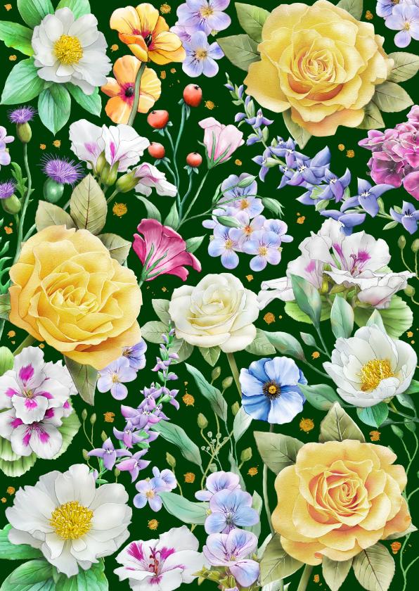 Bloemenkaarten - Mooie bloemenkaart met gele rozen en diverse andere bloemen