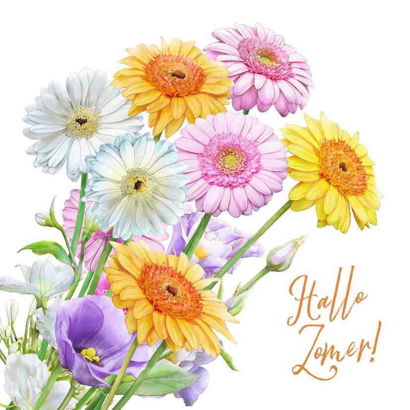 Bloemenkaarten - Mooie bloemenkaart met getekende Gerbera's in waterverf