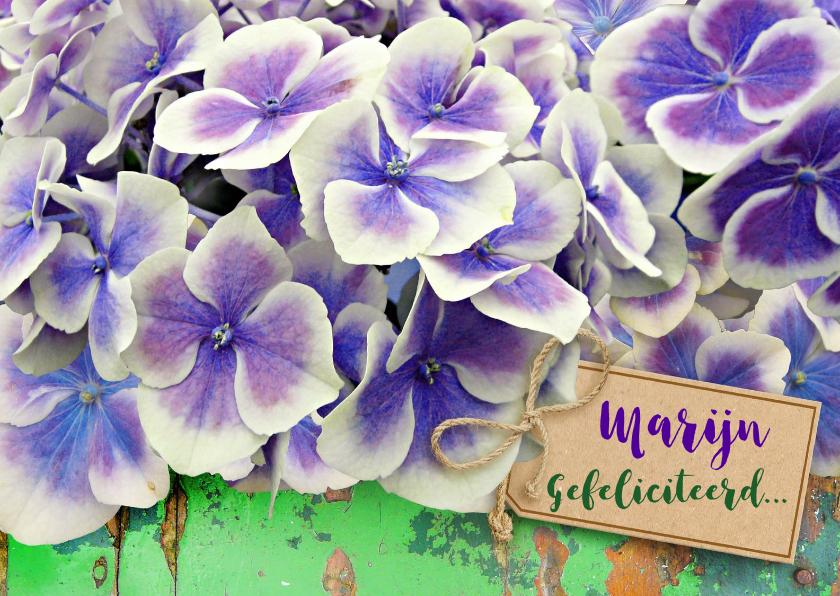Bloemenkaarten - Mooie bloemenkaart met Hortensia op groen hout