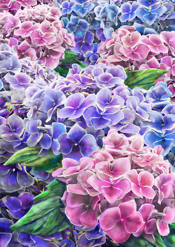 Bloemenkaarten - Mooie bloemenkaart met hortensia's in waterverf.
