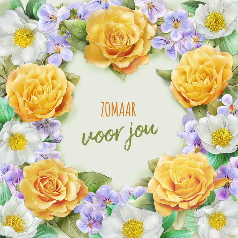 Bloemenkaarten - Mooie bloemenkaart met illustratie van gele en witte rozen