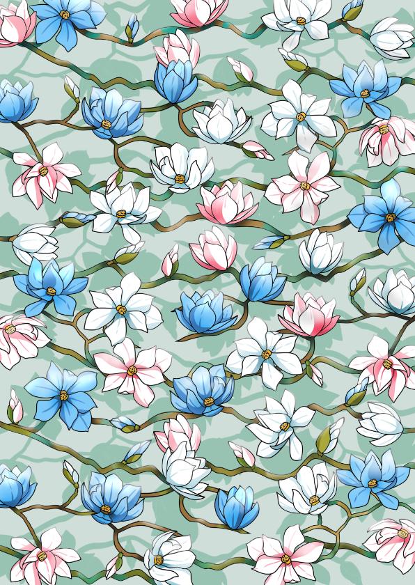 Bloemenkaarten - Mooie bloemenkaart met Japanse Magnolia's