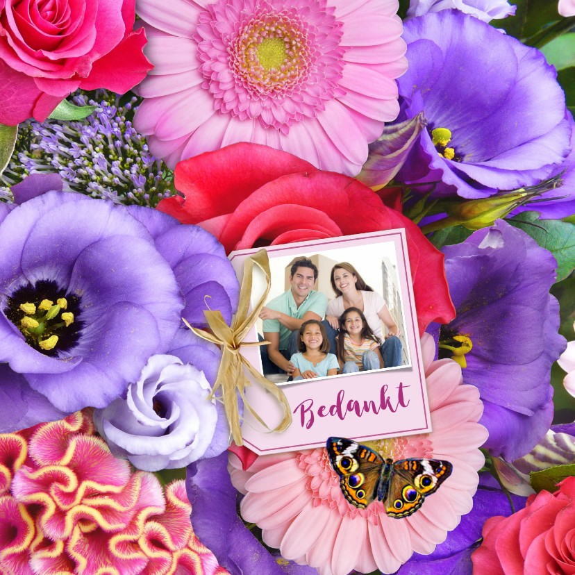 Bloemenkaarten - Mooie bloemenkaart met label, strikje en eigen foto