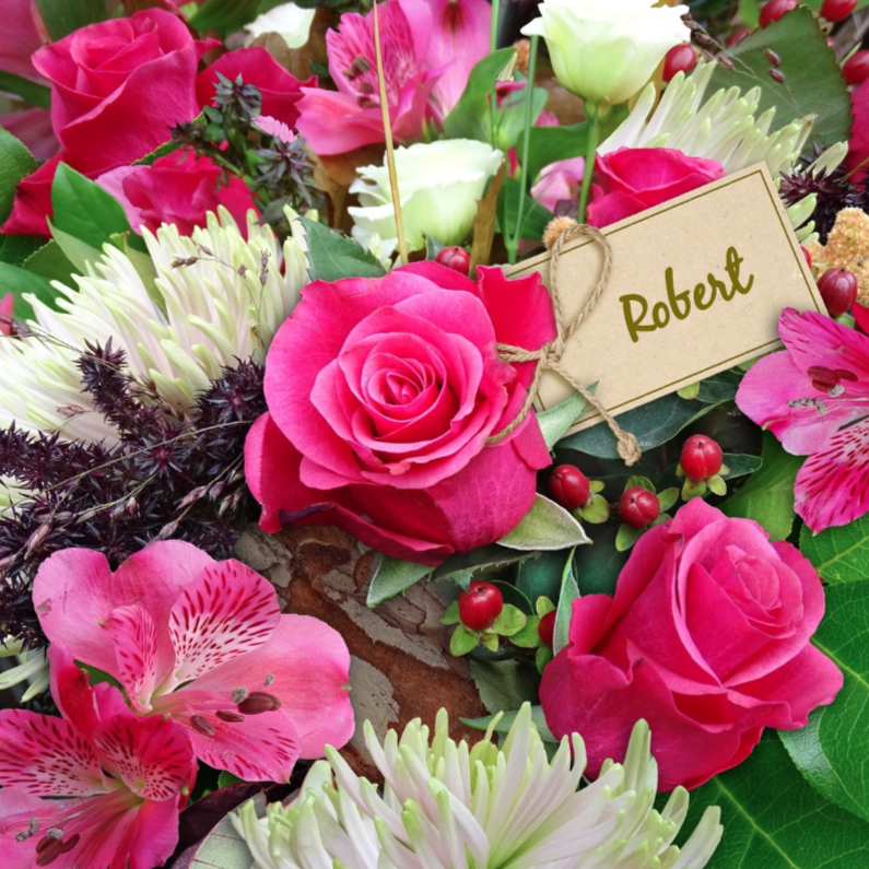 Bloemenkaarten - Mooie bloemenkaart met Rozen en Chrysanten in boeket