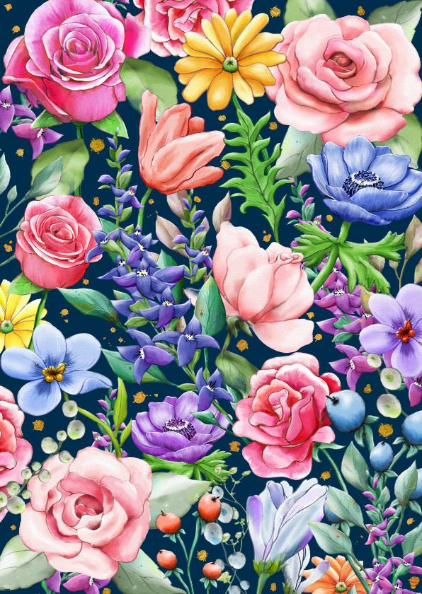 Bloemenkaarten - Mooie bloemenkaart met rozen en diverse andere bloemen