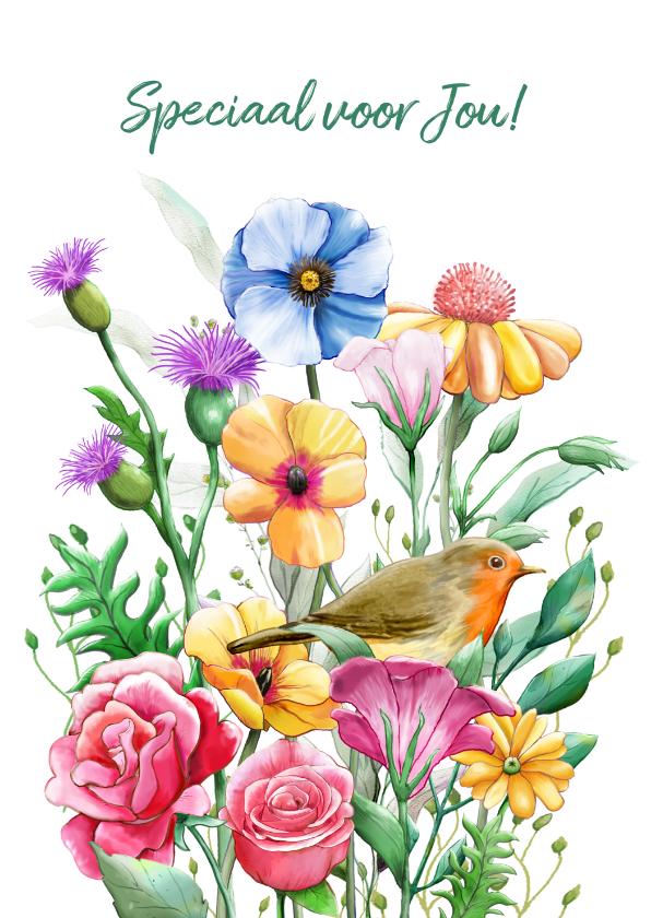 Bloemenkaarten - Mooie bloemenkaart om een vriendin te bedanken.