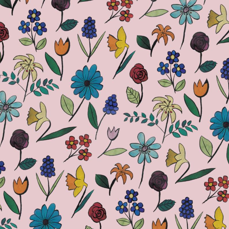 Bloemenkaarten - Roze Aquarel Bloemen
