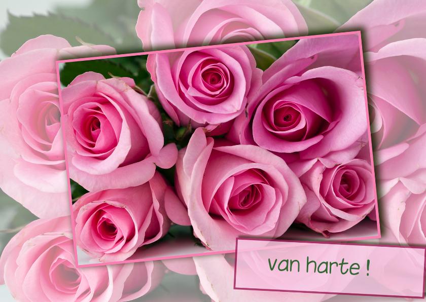 Bloemenkaarten - roze rozen voor jou