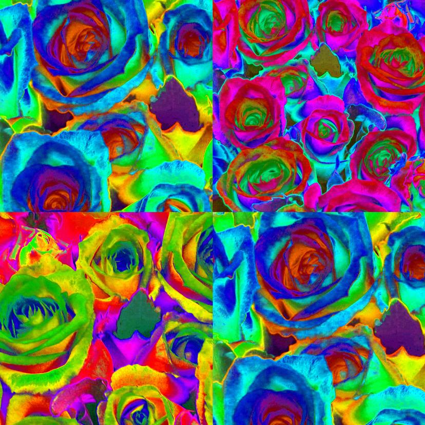 Bloemenkaarten - Rozen collage vierkant blanco