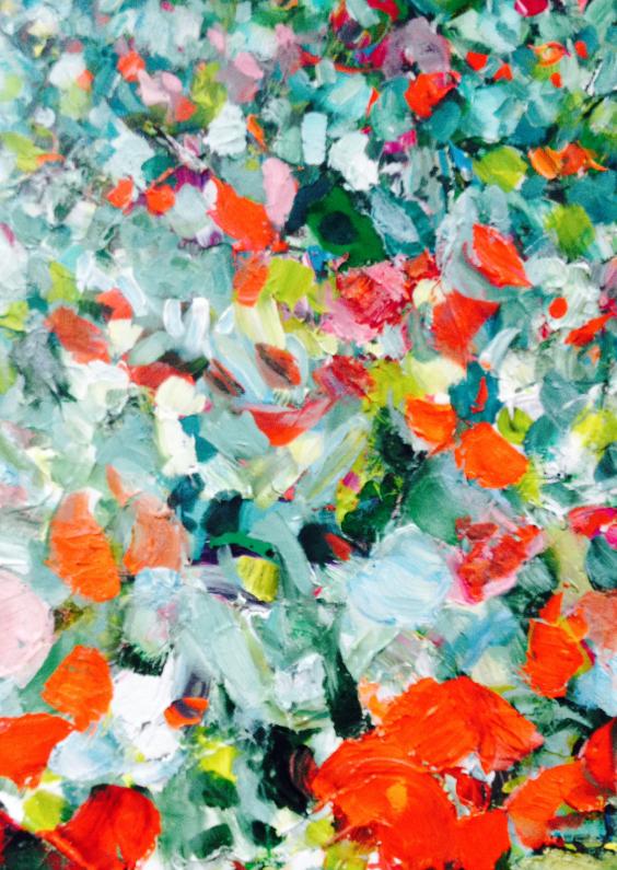 Bloemenkaarten - Schilderij print vrolijk veld rh