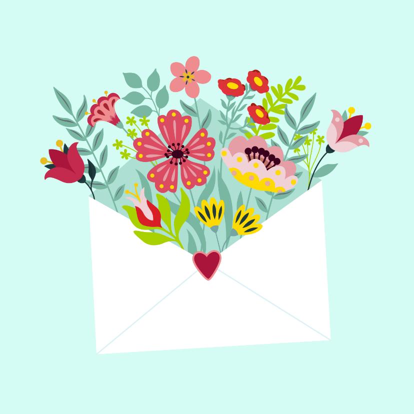 Bloemenkaarten - Stijlvolle en kleurrijke bloemenkaart met envelop