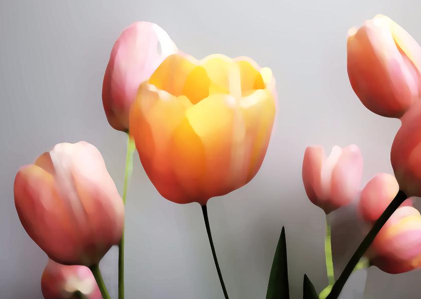 Bloemenkaarten - Tulpen roze oranje schilderstijl