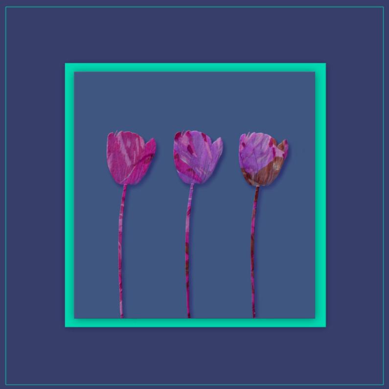 Bloemenkaarten - tulpjes in blauw