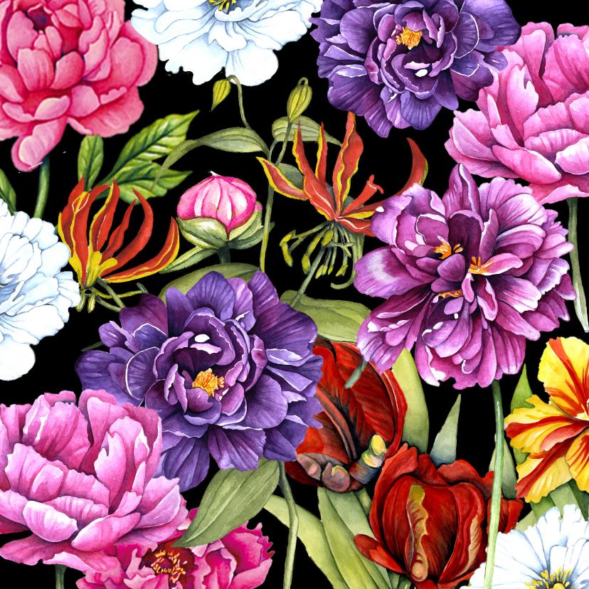 Bloemenkaarten - Vriendschap botanische bloemen