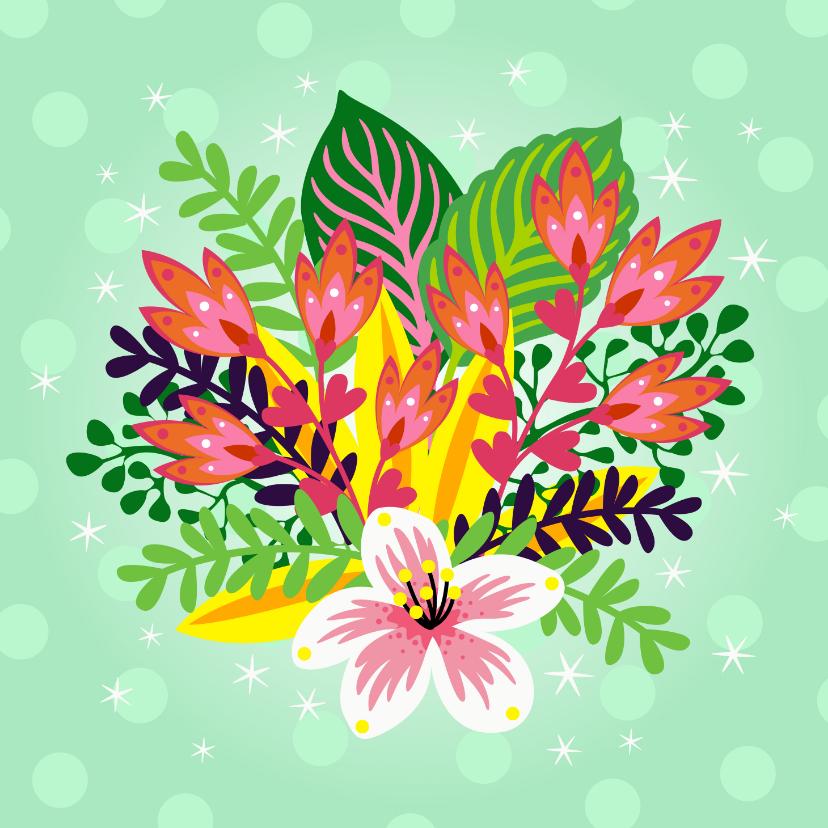 Bloemenkaarten - Vrolijke bloemenkaart met een bos bloemen