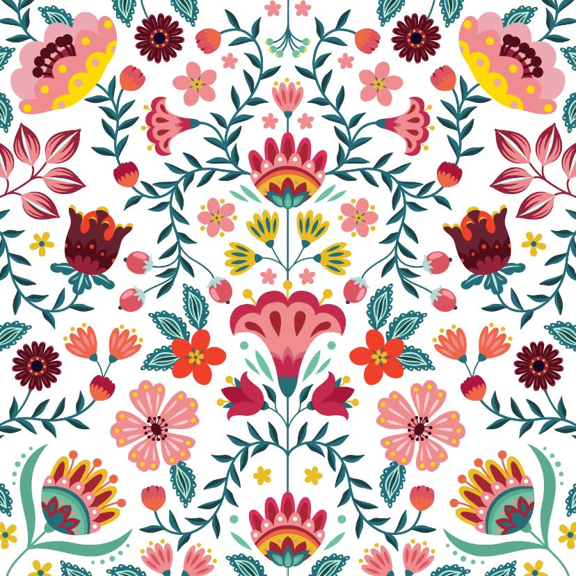 Bloemenkaarten - Vrolijke en kleurrijke verjaardagskaart met bloemen