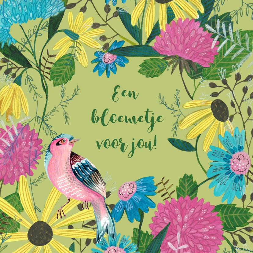 Bloemenkaarten - Wilde bloemen en een vogeltje
