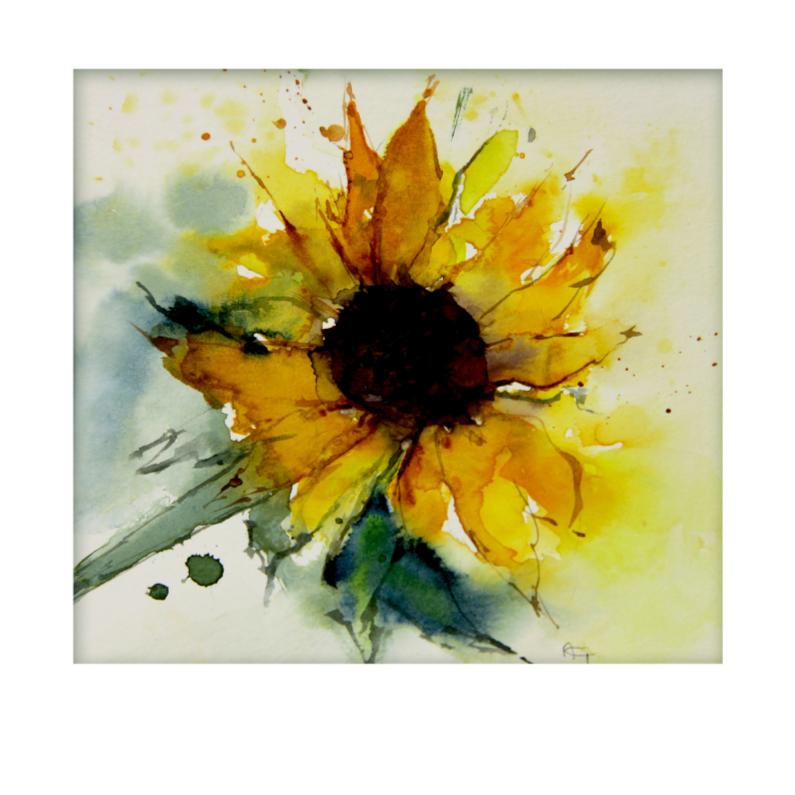 Bloemenkaarten - Zonnebloem in aquarel